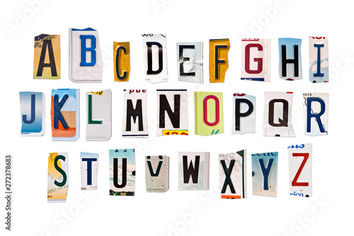 Poster Vintage voitures Alphabet set created with broken pieces of vintage car license plates on white background