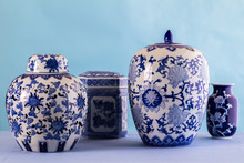 Still Life With Blue And White Ceramic Pots And Ginger Jars With Differential Focus - Space For Text