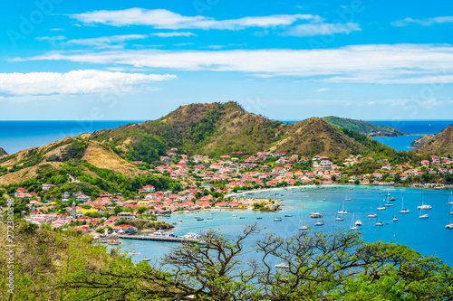 Keuken foto achterwand Pool Terre-de-Haut, Guadeloupe. Colorful landscape with village, bay and mountains.