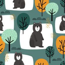 Seamless Pattern, Bears And Trees, Hand Drawn Overlapping Backdrop. Colorful Background Vector. Illustration With Animals. Decorative Wallpaper, Good For Printing