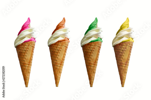 Fotografie, Obraz  Collection of four soft serve ice creams isolated on white background