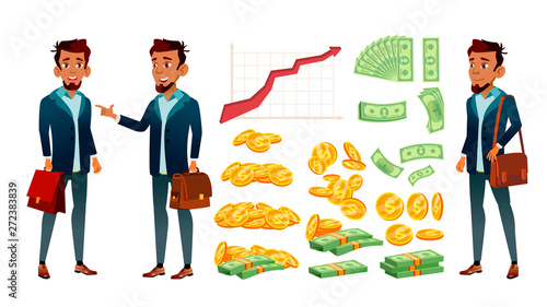 Photographie Character Banker And Grow Currency Graphic Vector