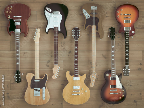 3d image render of a group of guitars on wooden floor - 272388460