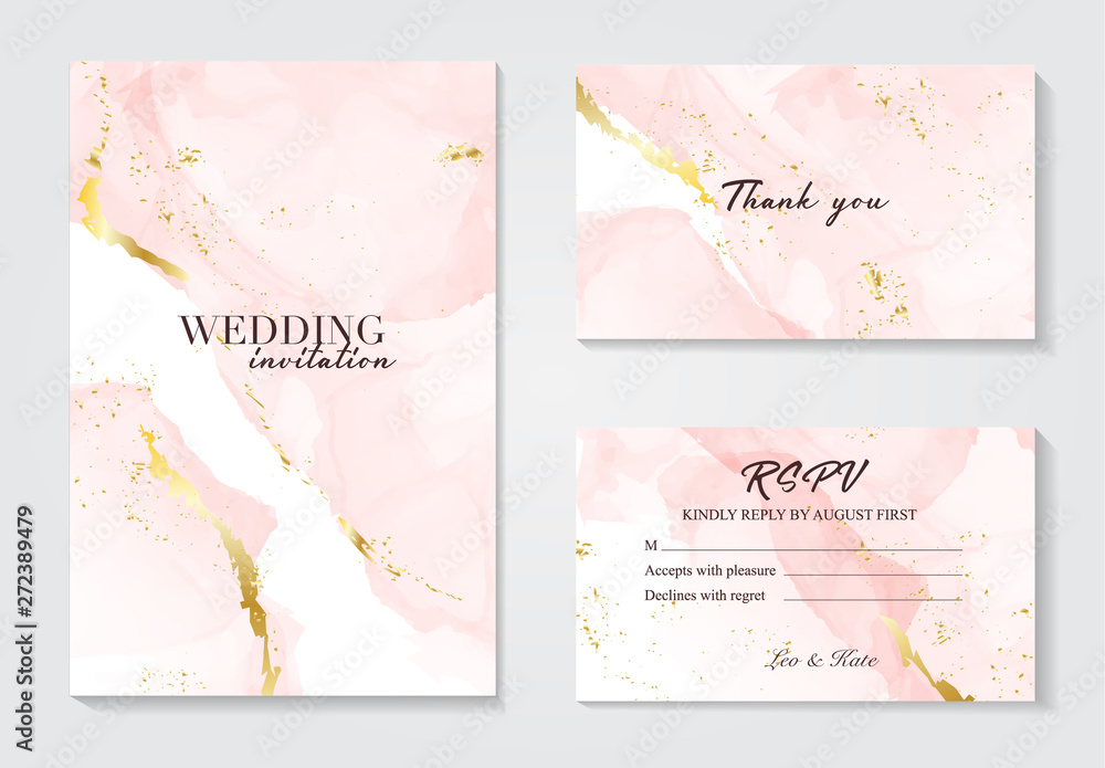 Fototapeta Vector wedding invitation set with liguid fluis background. Rose gold foil marble decoration luxury design. Grunge alcohol ink texture