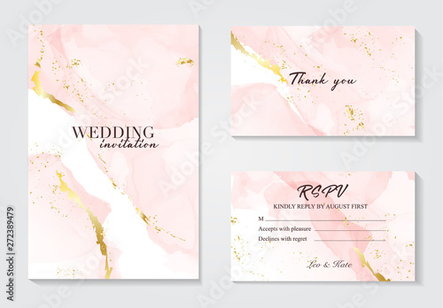 Obraz na plátně Vector wedding invitation set with liguid fluis background