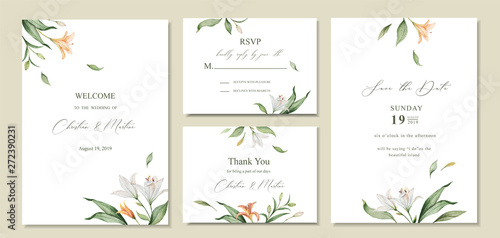 Fototapeta Watercolor Vector Set Wedding Invitation Card Template Design With Green Leaves And Flowers