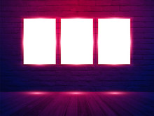 Vector Three Poster Mockup With On Brick Wall Room Background, Neon Light