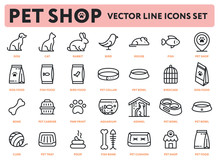 Pet Shop Vector Flat Line Icon Illustrations Set. Animals: Dog, Cat, Rabbit, Bird, Mouse, Fish. Food. Accessories: Collar, Bowl, Food, Bone, Carrier, Aquarium, Kennel, Clew, Tray, Poop, Cushion.