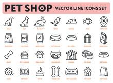 Pet Shop Vector Flat Line Icon...