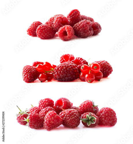Raspberries and red currants isolated on white background. Red berries closeup. Juicy and delicious raspberries. Background of raspberries. Background of red berries. Various fresh summer fruits. Fototapete