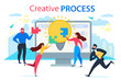 Cartoon People Join Jigsaw Puzzle Creative Process