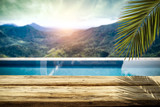 Swimming pool background and free space for your decoration
