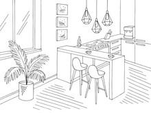 Kitchen Room Graphic Black Whi...