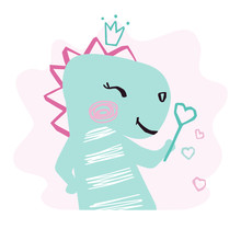 Dinosaur Baby Girl Cute Print. Sweet Dino With Magic Wand, Crown.