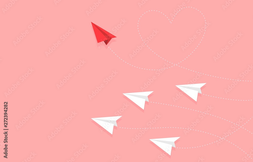 Fototapeta Red Paper plane with heart shape route