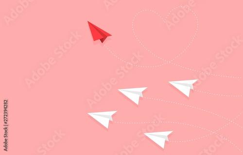 Obraz na plátně  Red Paper plane with heart shape route