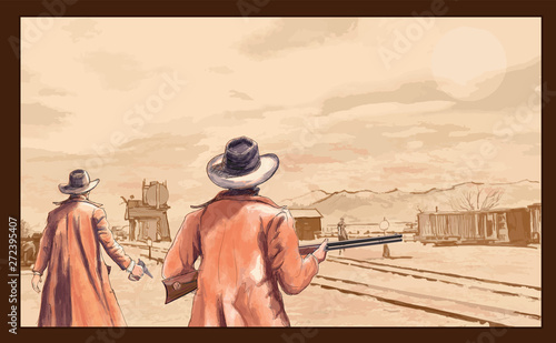 Spoed Foto op Canvas Art Studio Cowboys with weapons in the wild west