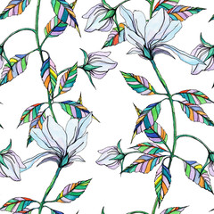 watercolor hand drawn colored decorative leaves and flowers on a white seamless background for use in design, textiles, wrapping paper, wallpaper, office supplies