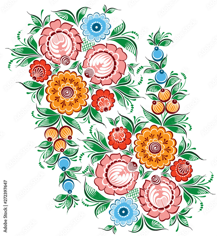Floral russian traditional vector ethnic ornament Gorodets on isolated white background for your design