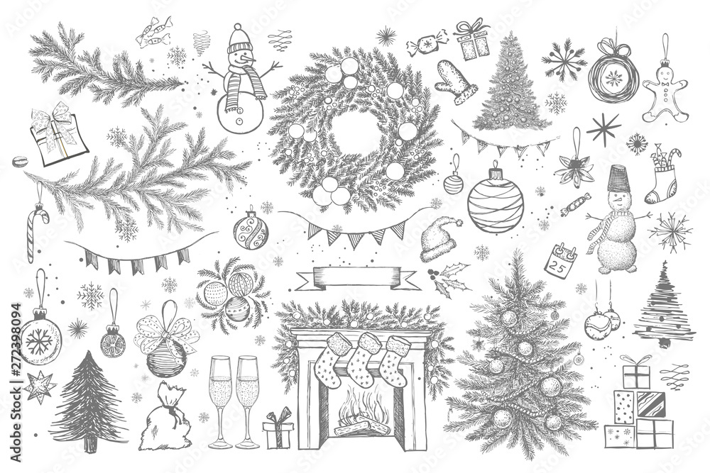 Fototapety, obrazy: Set of Christmas design element in doodle style. Hand drawn.