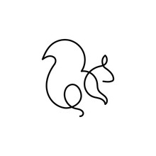 Squirrel One Line Icon. Elemen...