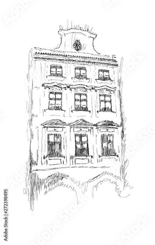 Vector sketch of European building hand drawn illustration in black and white colors