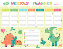 Vector Weekly Planner For Kids