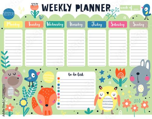 Weekly planner cute animals Fototapete