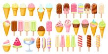 Ice Cream Set. Colorful Ice-cream Cones And Popsicles.
