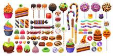 Halloween Sweet Treats Set. Candies And Snacks.