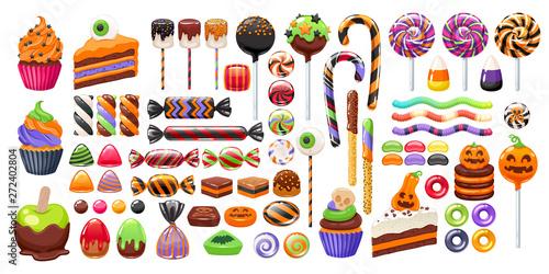 Halloween sweet treats set. Candies and snacks. Wallpaper Mural