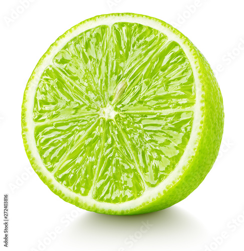Half of lime isolated on white background. Green lime citrus fruit with clipping path. Full depth of field.
