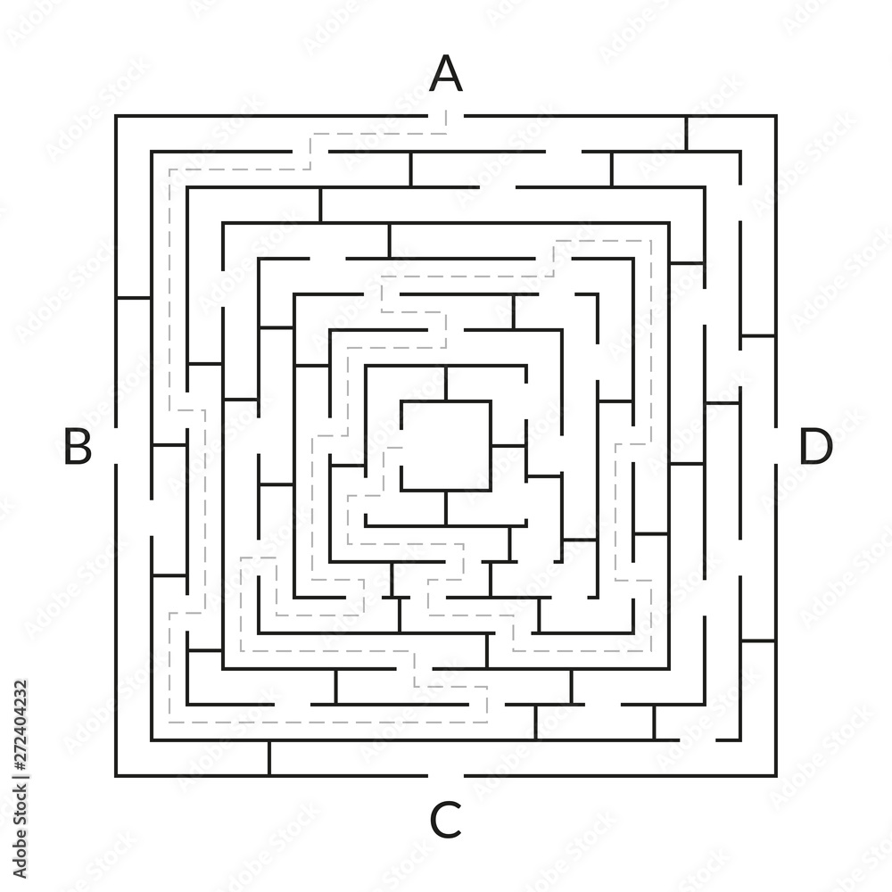 Fototapeta Labyrinth game. Square Maze. Find the way game. Exit and entrance puzzle. Vector illustration.