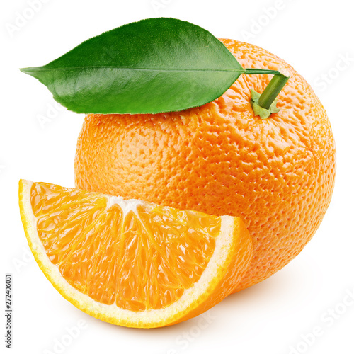 Ripe whole orange citrus fruit with green leaf and slice isolated on white background. Oranges with clipping path. Full depth of field.