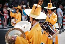 Korean People In Traditional Costumes Performing At Karneval Der Kulturen (Carnival Of Cultures) In Berlin