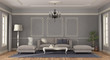 canvas print picture Modern gray sofa in a room in classic style - 3d rendering