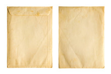 Old Vintage Paper Sheet Envelope Texture Isolated On White Background