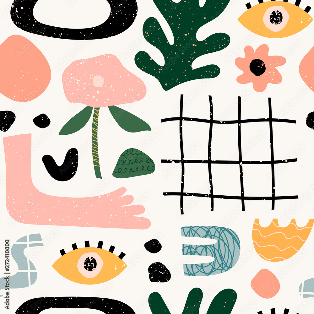 Hand drawn various shapes and doodle objects. Abstract contemporary modern trendy vector illustration. Stamp texture. Colorful seamless pattern
