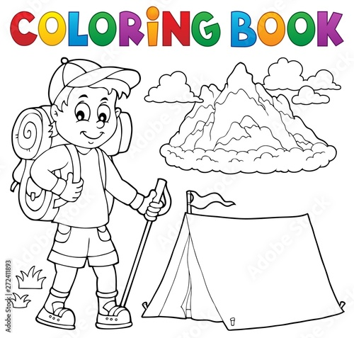 Wall Murals For Kids Coloring book hiker boy topic 1