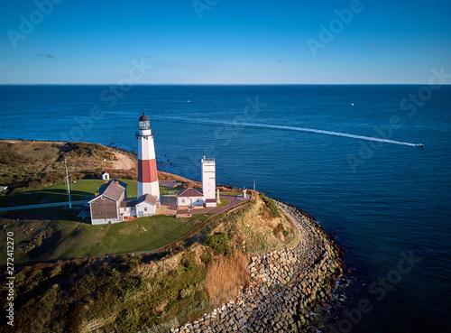 Garden Poster Montauk Lighthouse and beach aerial shot, Long Island, New York, USA.