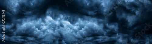 Dark cloudy sky before thunderstorm panoramic background Wallpaper Mural