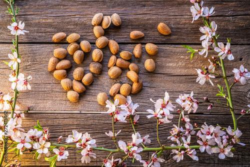 Almond spring blossom harvest on wood Wallpaper Mural