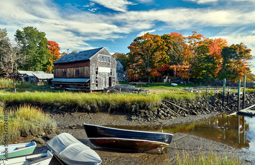 Fall in Essex, Massachusetts, USA. Autumn scene at old wharf. Canvas Print