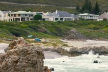 Rocky Ocean Coast Of Town Of Hermanus, South Africa