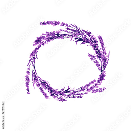 Photo  Lavender flower wreath watercolor illustration