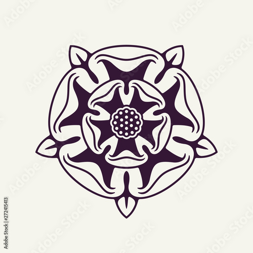Valokuva Heraldic Rose Vector Monochrome Element
