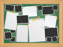 Items Pinned To A School Message Board With Wood Frame, Ready For Your Customized Text Or Images. Stick Note. Blank Worksheet Exercise Book. Empty Photo Frame. The School Board.
