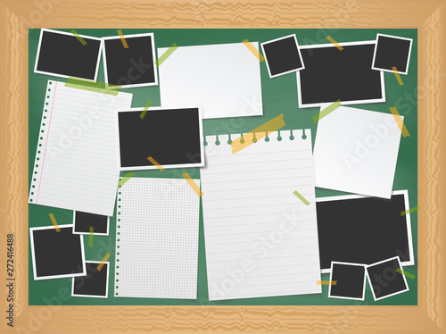 Obraz Items pinned to a school message board with wood frame, ready for your customized text or images. Stick note. Blank worksheet exercise book. Empty photo frame. The school Board.  - fototapety do salonu
