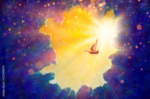 Fantasy Scenery Peter Pan S Flying Ship Flies Through Space