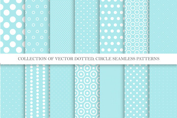 Collection of cute polka dot seamless vector patterns in turquoise colors. Aqua blue dotted textures. Geometric design